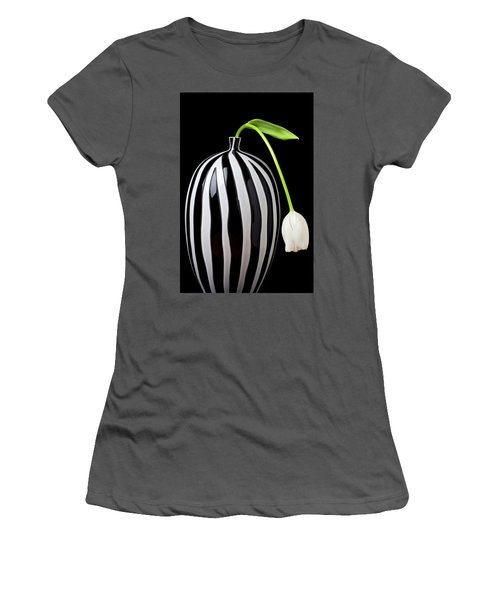 White Tulip In Striped Vase Women's T-Shirt (Athletic Fit)