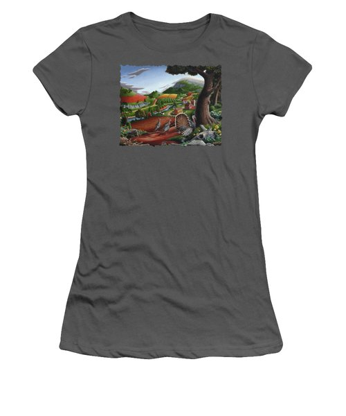 Wild Turkeys Appalachian Thanksgiving Landscape - Childhood Memories - Country Life - Americana Women's T-Shirt (Junior Cut) by Walt Curlee
