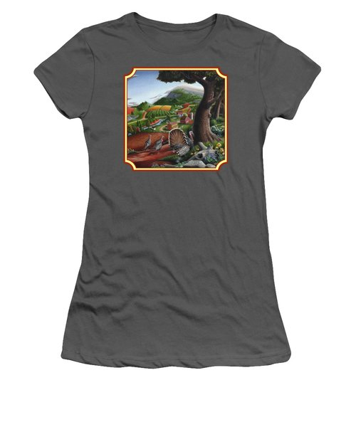 Wild Turkeys In The Hills Country Landscape - Square Format Women's T-Shirt (Junior Cut) by Walt Curlee
