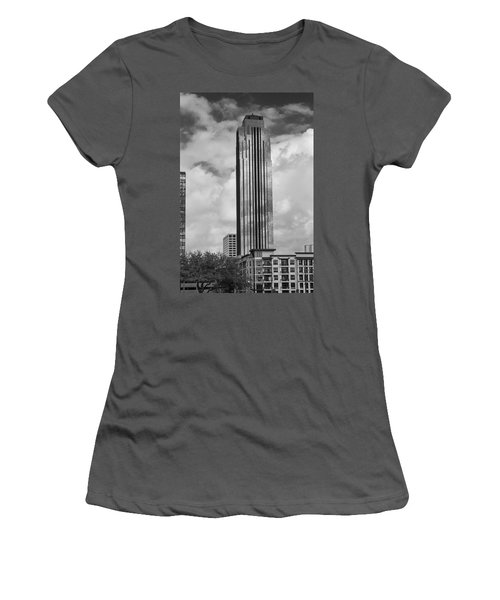 Williams Tower In Black And White Women's T-Shirt (Athletic Fit)