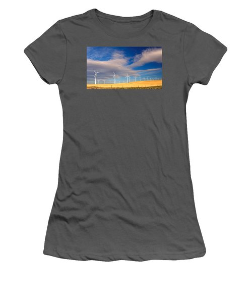 Wind Farm Against The Sky Women's T-Shirt (Athletic Fit)