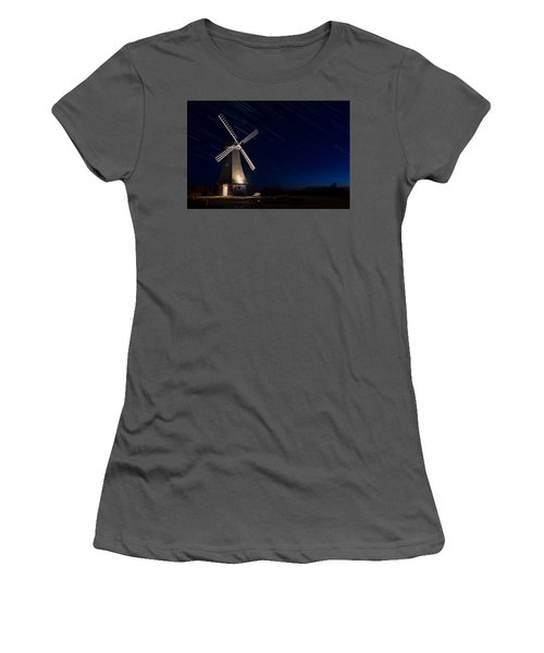 Windmill In The Night Women's T-Shirt (Athletic Fit)