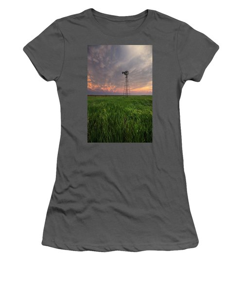 Women's T-Shirt (Athletic Fit) featuring the photograph Windmill Mammatus by Aaron J Groen