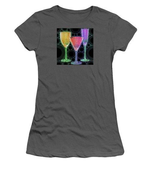 Women's T-Shirt (Junior Cut) featuring the digital art Wine Glass Art-1 by Nina Bradica