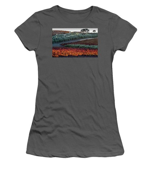 Wine Grapes And Olive Trees Women's T-Shirt (Junior Cut) by Roger Mullenhour