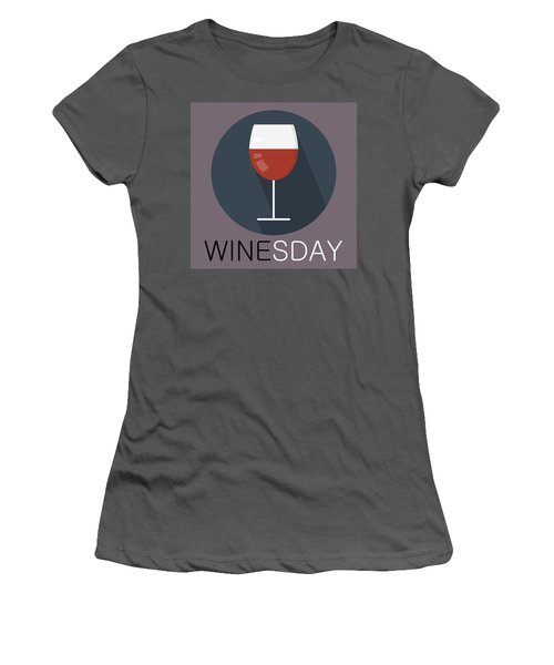 Wine Poster Print - It's Winesday Women's T-Shirt (Athletic Fit)