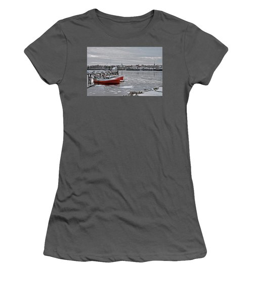 Winter At Newburyport Harbor Women's T-Shirt (Athletic Fit)
