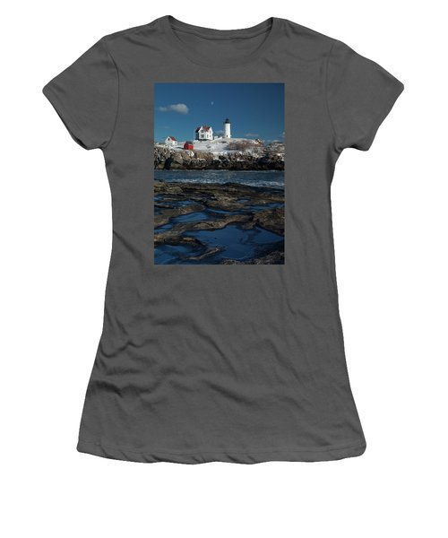 Winter At Nubble Lighthouse Women's T-Shirt (Athletic Fit)