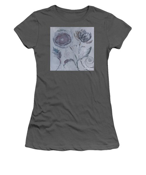 Women's T-Shirt (Athletic Fit) featuring the painting Winter Blooms by Robin Maria Pedrero