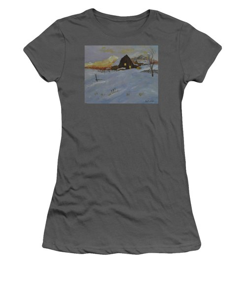 Winter Dusk On The Farm Women's T-Shirt (Athletic Fit)
