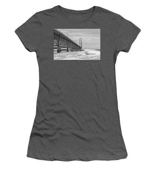 Women's T-Shirt (Junior Cut) featuring the photograph Winter Icy Mackinac Bridge  by John McGraw
