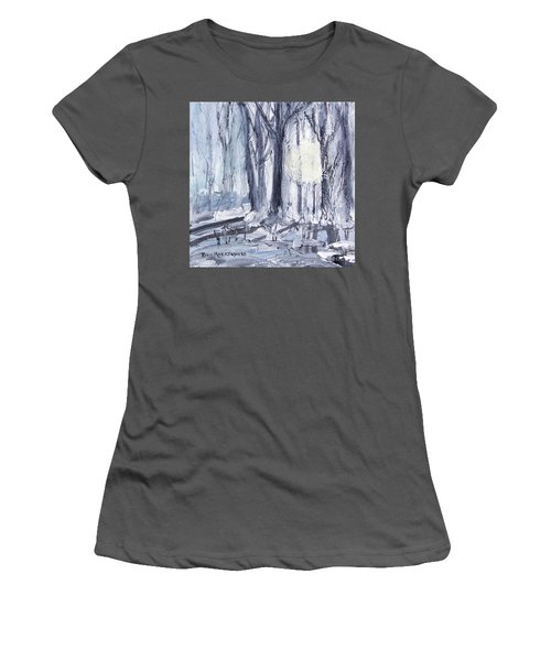 Women's T-Shirt (Athletic Fit) featuring the painting Winter Light by Robin Maria Pedrero