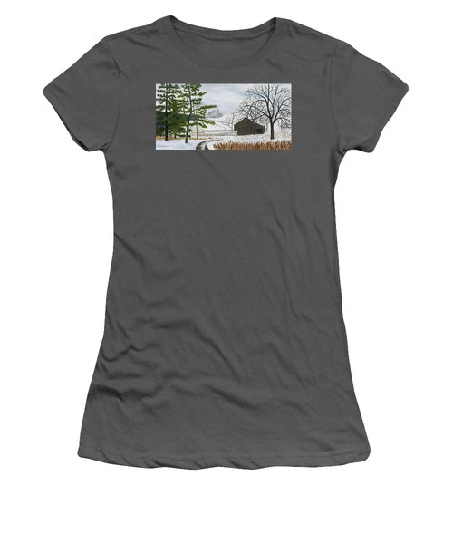 Winter On Hill Crystal Farm Women's T-Shirt (Athletic Fit)