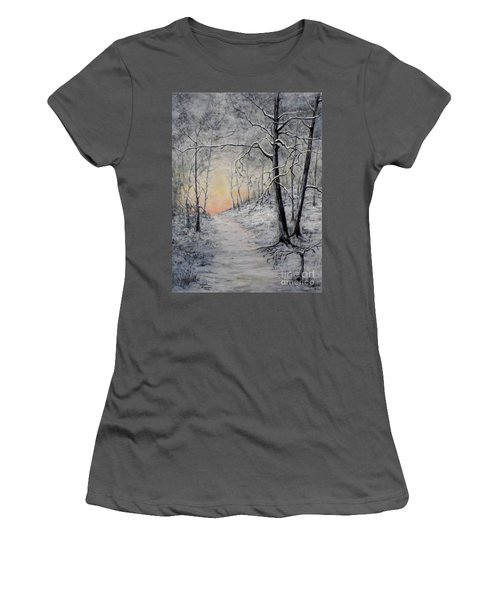 Women's T-Shirt (Junior Cut) featuring the painting Winter Sunset by Judy Kirouac