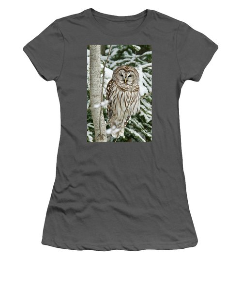 Winter Time Barred Owl Women's T-Shirt (Athletic Fit)