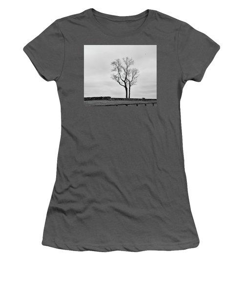 Winter Trees And Fences Women's T-Shirt (Junior Cut) by Nancy De Flon