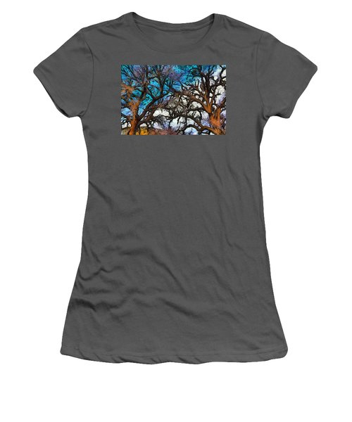 Women's T-Shirt (Junior Cut) featuring the photograph Winter Trees At Fort Tejon Lebec California Abstract by Floyd Snyder