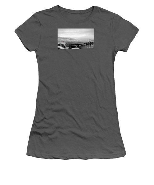Women's T-Shirt (Junior Cut) featuring the photograph Winter's Icy Grip On Lighthouse Ann Arbor Park by Mark J Seefeldt
