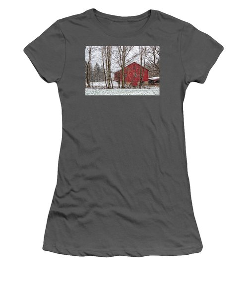 Wintry Barn Women's T-Shirt (Junior Cut) by Skip Tribby