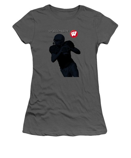 Women's T-Shirt (Junior Cut) featuring the digital art Wisconsin Football by David Dehner