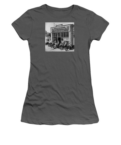 Women's T-Shirt (Junior Cut) featuring the photograph The Motor Maids Of America Outside The Shop They Used As Their Headquarters, 1950. by Lawrence Christopher