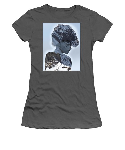 Woman And A Snowy Mountain Women's T-Shirt (Athletic Fit)