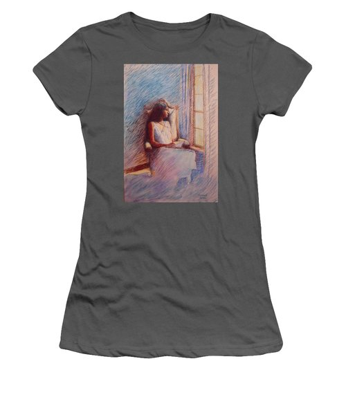 Woman Reading By Window Women's T-Shirt (Athletic Fit)
