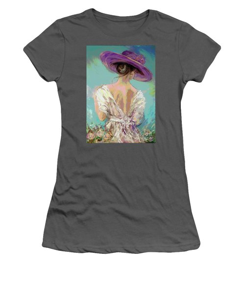 Woman Wearing A Purple Hat Women's T-Shirt (Athletic Fit)