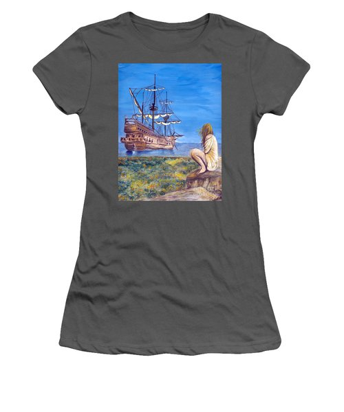 Woman With Spanish Ship Women's T-Shirt (Athletic Fit)