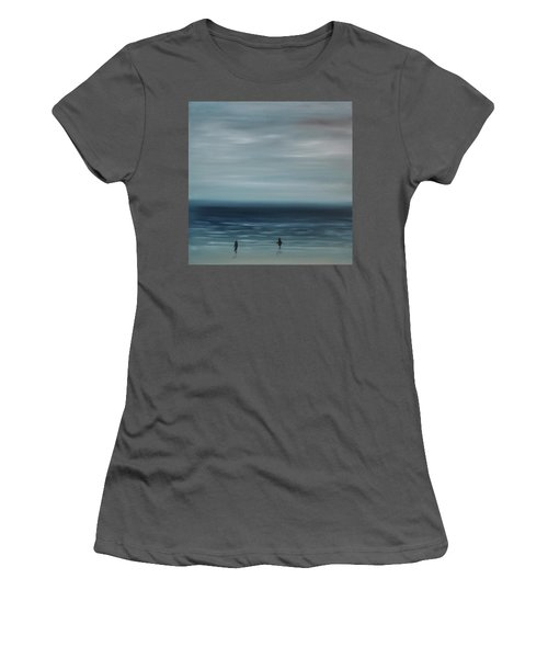 Women's T-Shirt (Junior Cut) featuring the painting Women On The Beach by Tone Aanderaa