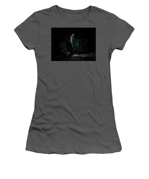 Women's T-Shirt (Junior Cut) featuring the photograph Wood Grouse's Sunbeam by Torbjorn Swenelius