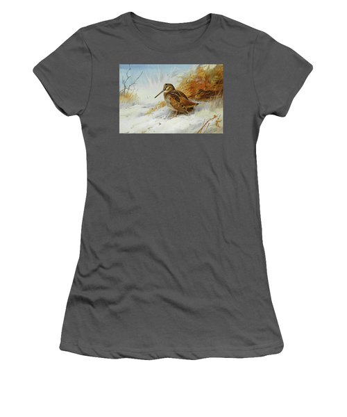 Woodcock In Winter By Thorburn Women's T-Shirt (Athletic Fit)