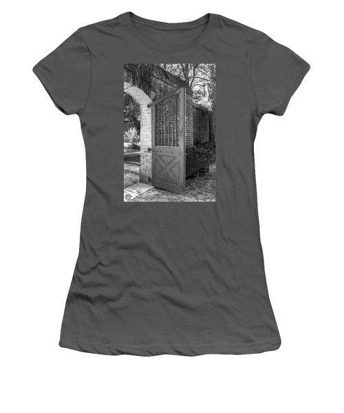 Wooden Garden Door B W Women's T-Shirt (Athletic Fit)
