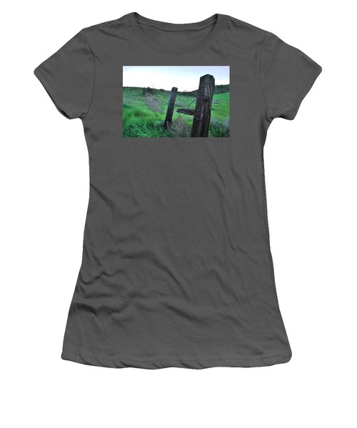 Women's T-Shirt (Athletic Fit) featuring the photograph Wooden Gate In Field by Matt Harang
