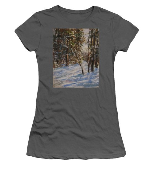 Woods And Snow At Two Below Women's T-Shirt (Athletic Fit)