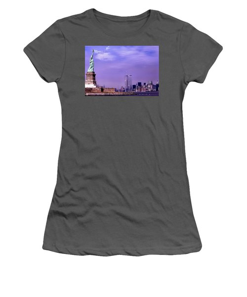 World Trade Center Twin Towers And The Statue Of Liberty  Women's T-Shirt (Athletic Fit)