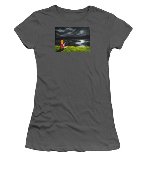 Women's T-Shirt (Junior Cut) featuring the painting Yel No Catch A Kelpie Wi That by Scott Wilmot