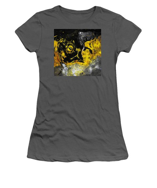 Women's T-Shirt (Junior Cut) featuring the painting Yellow And Black Abstract Art by Ayse Deniz