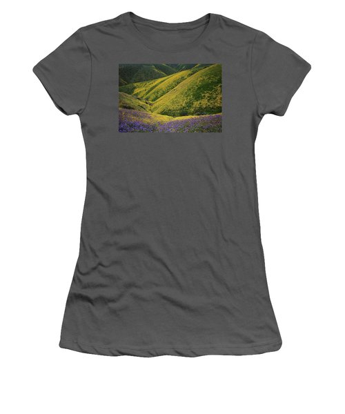 Yellow And Purple Wildlflowers Adourn The Temblor Range At Carrizo Plain National Monument Women's T-Shirt (Athletic Fit)