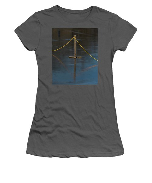 Women's T-Shirt (Athletic Fit) featuring the photograph Yellow Boundary On Ice by Gary Slawsky