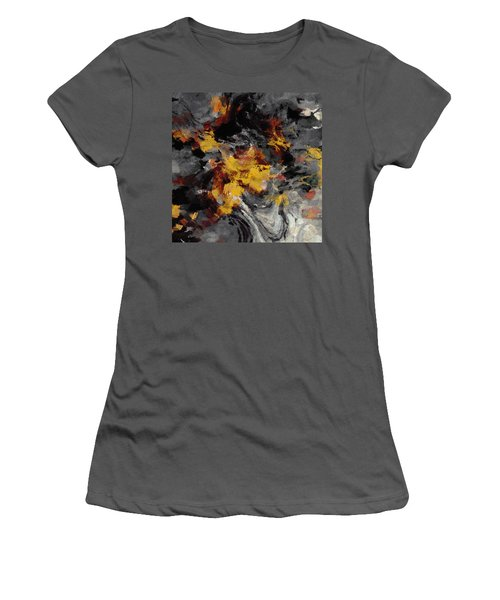 Women's T-Shirt (Junior Cut) featuring the painting Yellow / Golden Abstract / Surrealist Landscape Painting by Ayse Deniz