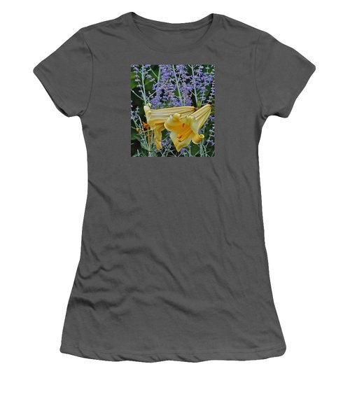 Yellow Trumpets Women's T-Shirt (Junior Cut) by Janis Nussbaum Senungetuk