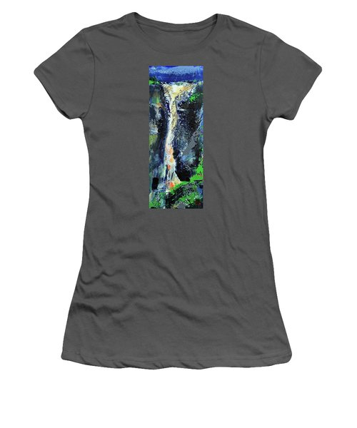 Women's T-Shirt (Athletic Fit) featuring the painting Yosemite Falls by Walter Fahmy