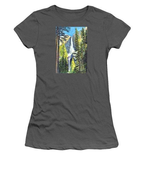 Yosemite Falls Watercolor Painting Women's T-Shirt (Junior Cut) by Carol Wisniewski