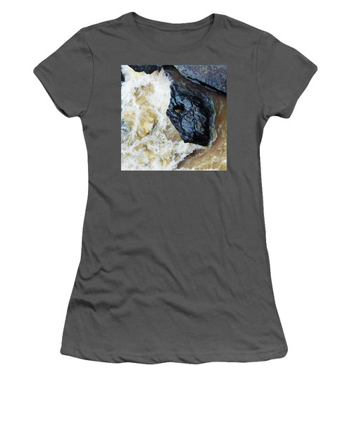 Yuba Blue Boulder In Stormy Waters Women's T-Shirt (Athletic Fit)