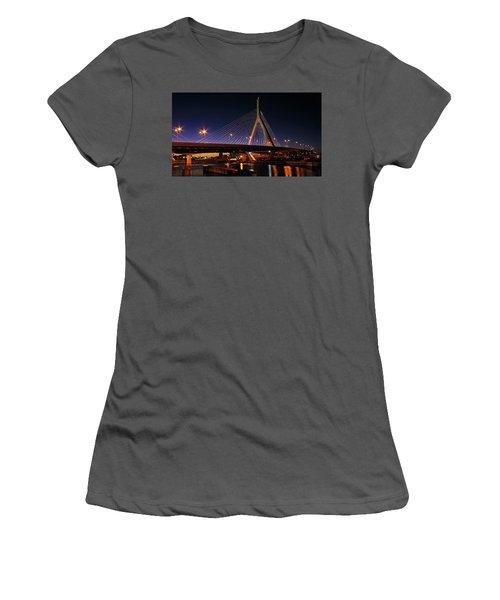 Zakim Bridge Boston Massachusetts At Night Women's T-Shirt (Junior Cut) by Betty Denise