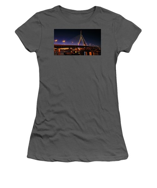 Zakim Bridge Boston Massachusetts At Night Women's T-Shirt (Athletic Fit)