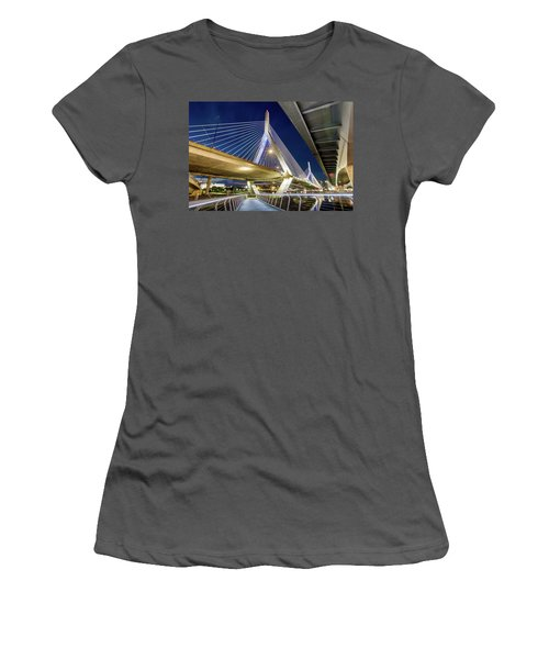 Zakim Bridge From Bridge Under Another Bridge Women's T-Shirt (Athletic Fit)