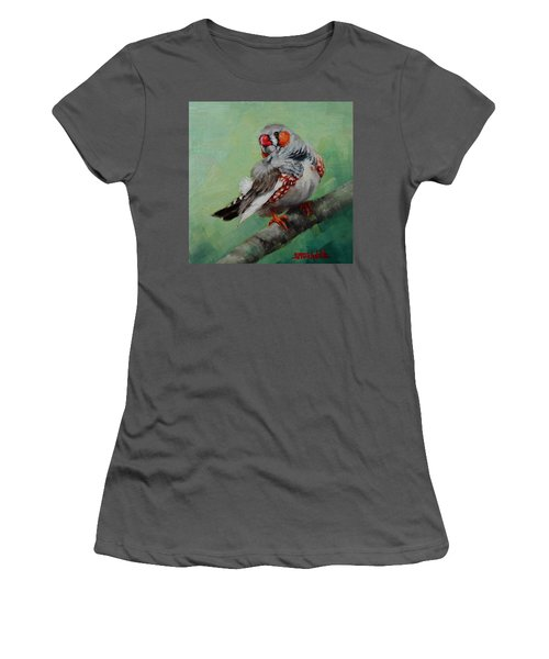 Women's T-Shirt (Junior Cut) featuring the painting Zebra Finch Miniature by Margaret Stockdale
