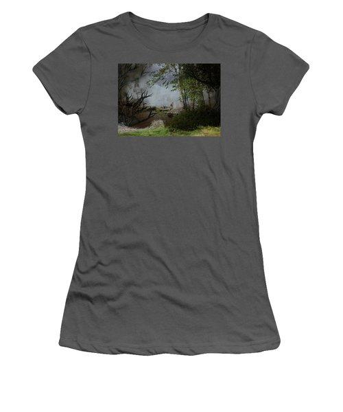 Fox On Rocks Women's T-Shirt (Athletic Fit)